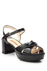 Prada Patent Leather Crisscross Platform Sandals - Lyst