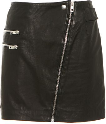 Rag & Bone Black Leather Mini Skirt - Lyst