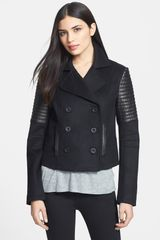 Rebecca Minkoff Sky Leather Wool Blend Jacket - Lyst