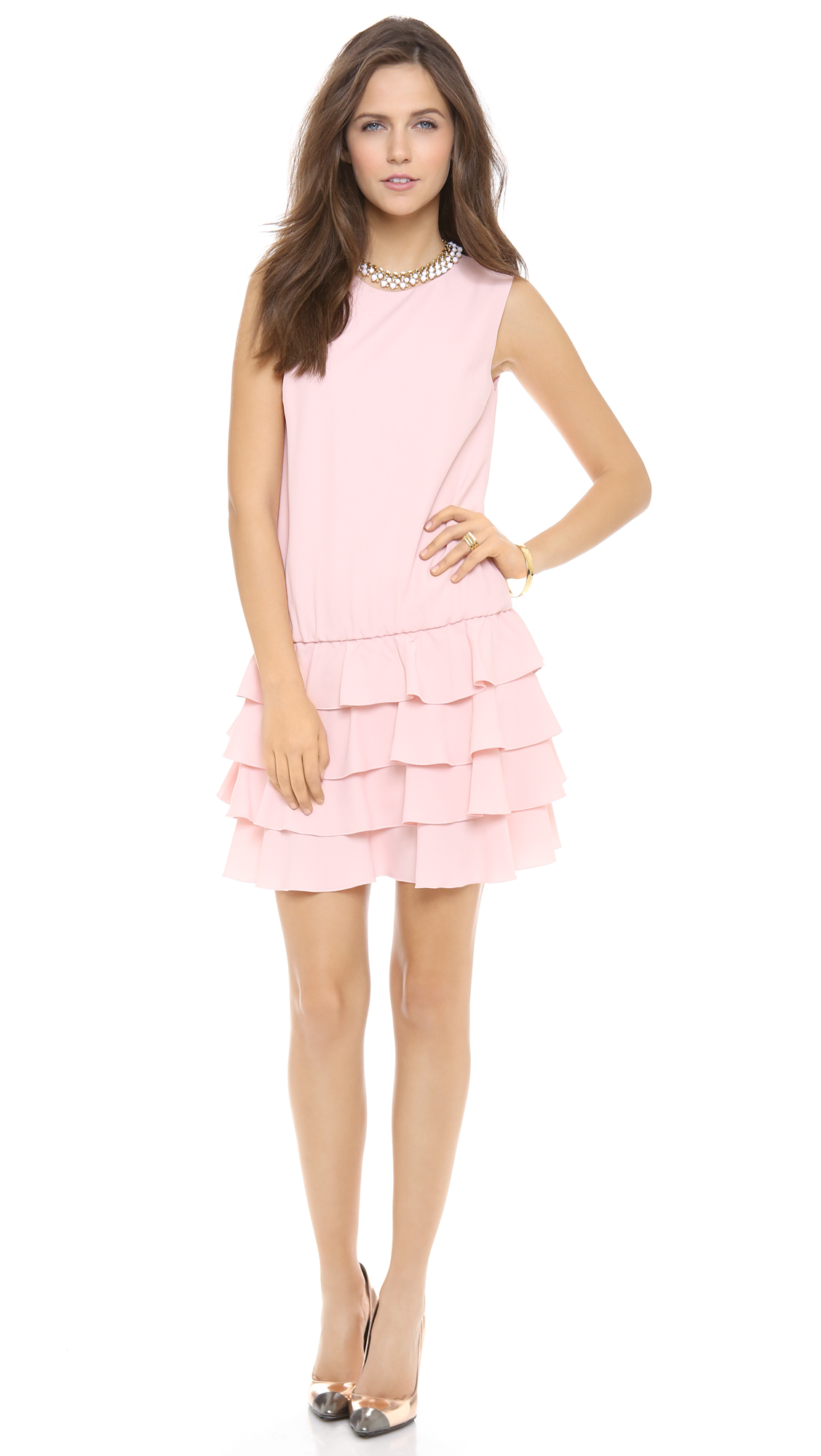 Lyst Red Valentino Drop Waist Ruffle Dress In Pink