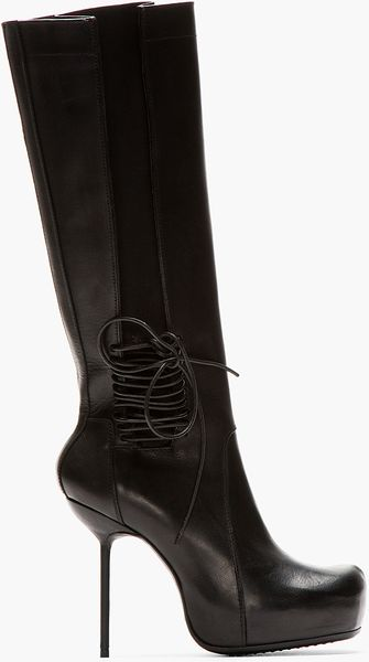 Rick Owens Black Leather Stiletto Wader Boots - Lyst