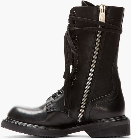 rick owens black leather zip up army boot in black lyst