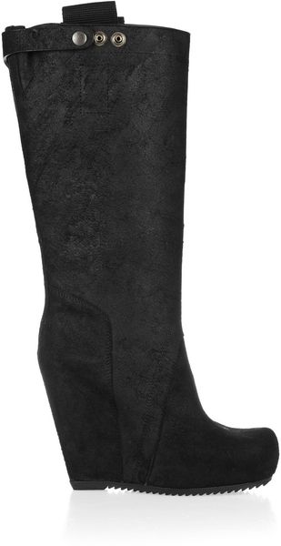 Rick Owens Leather Wedge Boots - Lyst