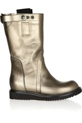 Rick Owens Metallic Leather Mid-Calf Boots - Lyst