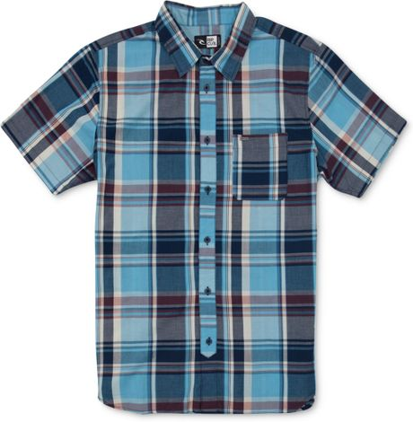Rip Curl Monte Short Sleeve Plaid Shirt In Blue For Men