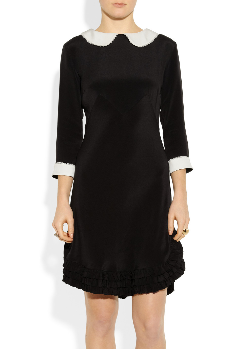 Black Collared Tie Back Tropical Print Bodycon Dress From: Rochas Peter Pan Collar Dress In Black