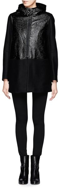 Sandro Metallic Panelled Hooded Coat - Lyst