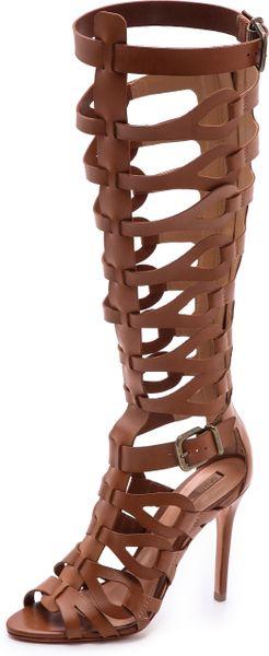 Schutz Eirini Cutout Tall Gladiator Sandals In Brown