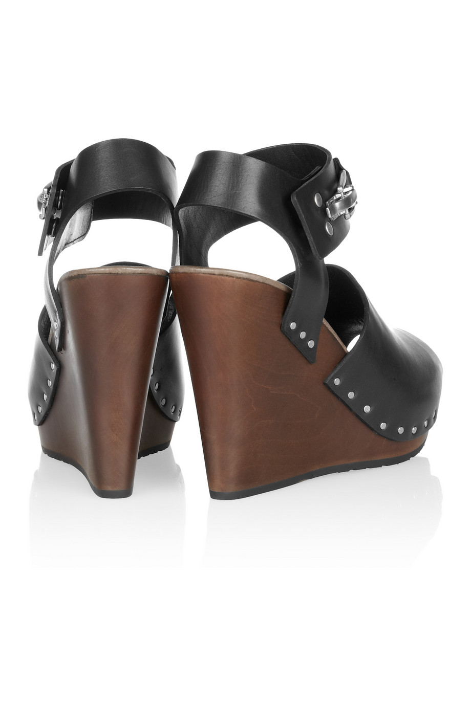 1d8cc51044c See By Chloé Leather and Wooden Wedge Sandals in Black - Lyst