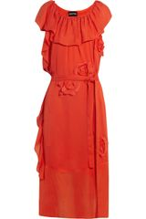 Sonia Rykiel Ruffled Silk Dress - Lyst
