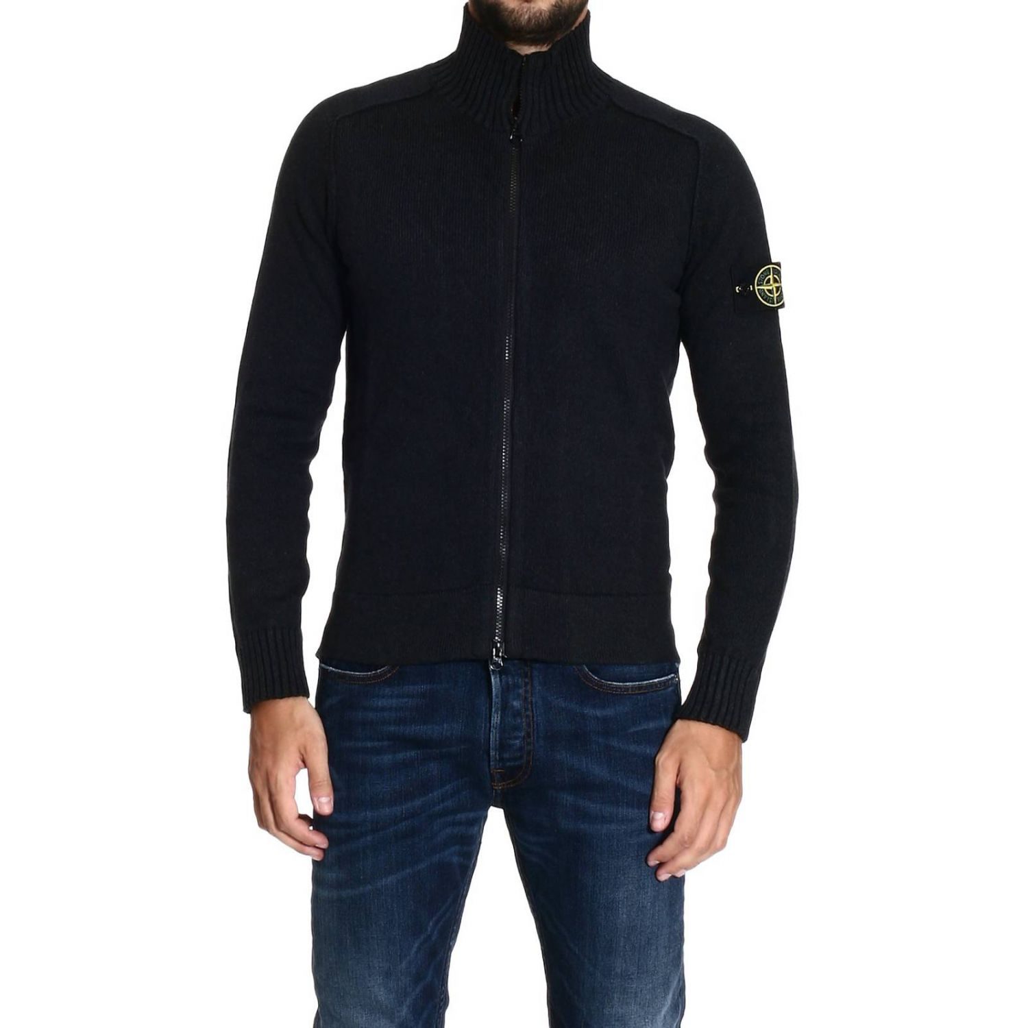 Stone island Sweater Heavy Cotton Full Zip in Black for Men - Lyst