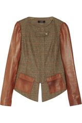 Suno Houndstooth Tweed and Leather Peplum Jacket - Lyst