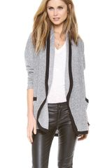 Three Dots Open Cardigan with Contrast Trim - Lyst