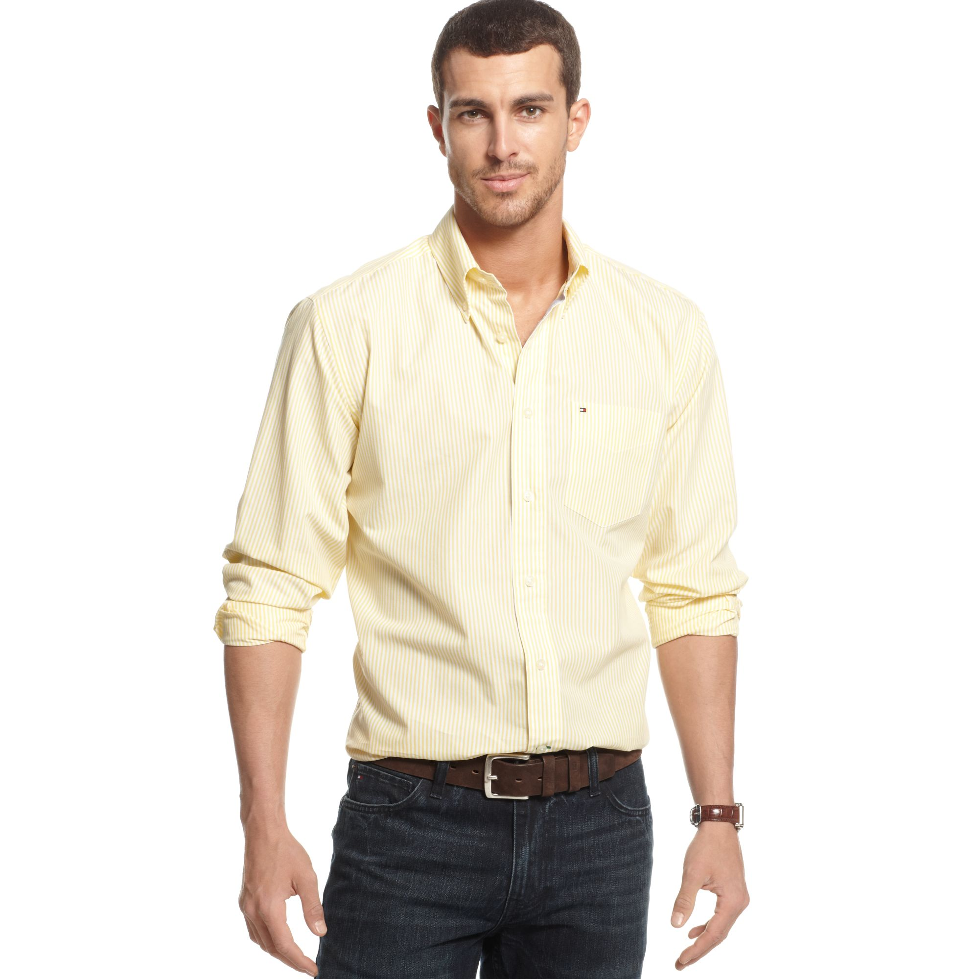 tommy hilfiger big and tall cheever striped shirt in