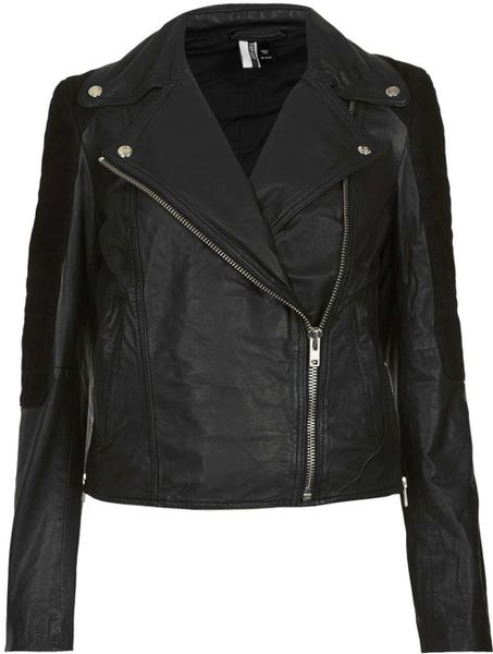 Topshop Mixed Leather Biker Jacket in Black | Lyst