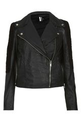 Topshop Mixed Leather Biker Jacket - Lyst