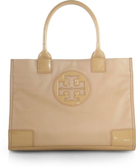 Womens lined leather gloves - Tory Burch Ella Mini Coated Canvas Tote In Khaki Mid Camel Lyst