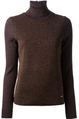 Tory Burch Contrast Sleeve Roll Neck Sweater - Lyst
