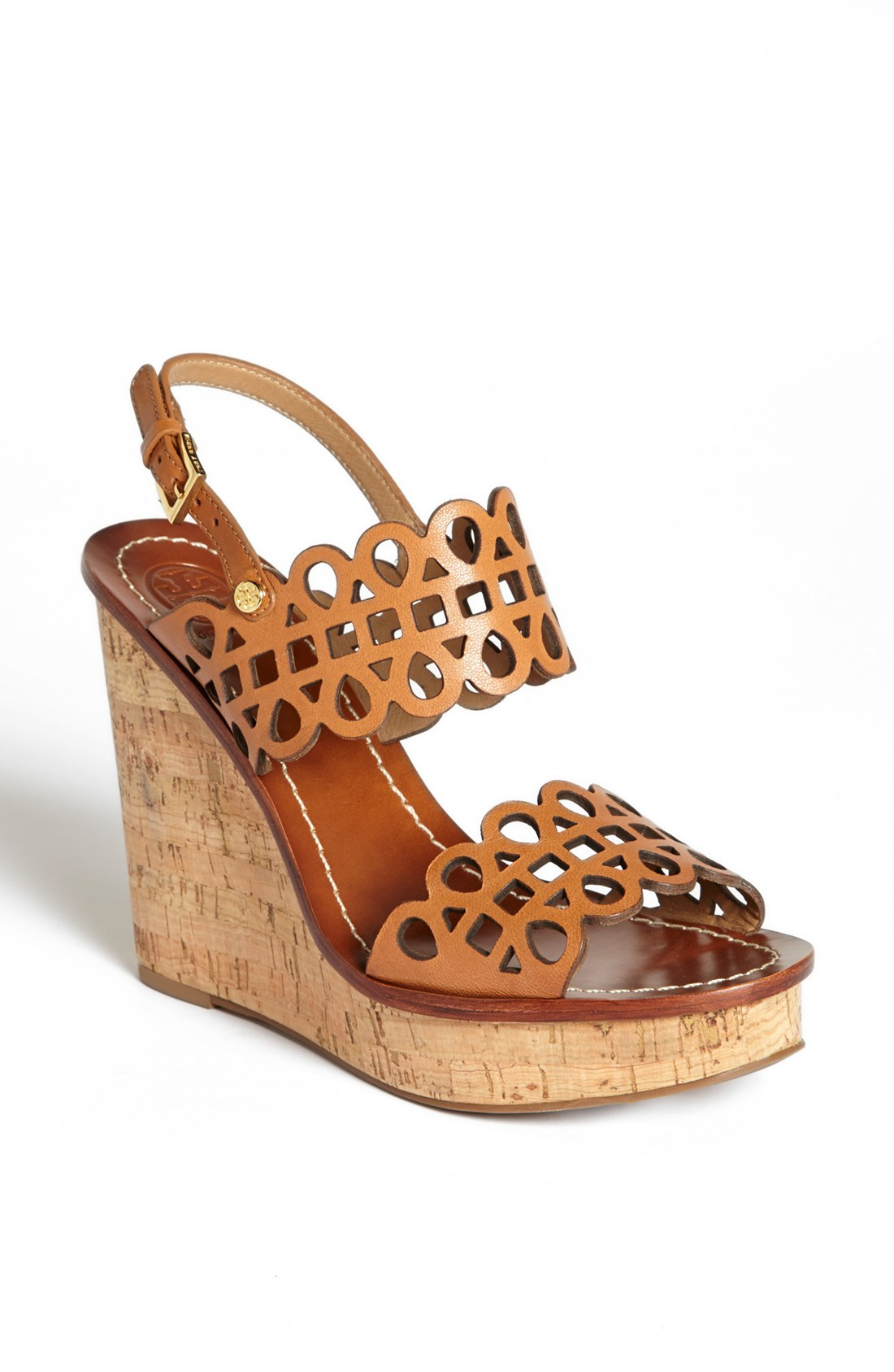 tory burch nori wedge sandal in brown vintage vachetta. Black Bedroom Furniture Sets. Home Design Ideas