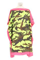 Valentino Pink Khaki Brown and Neon Yellow Camo-print Silk Dress - Lyst