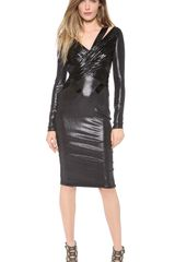Versace Long Sleeve Ruched Dress - Lyst