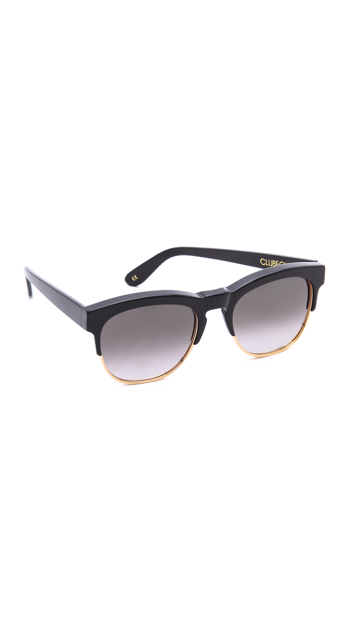 wildfox clubfox sunglasses in black black grey gradient