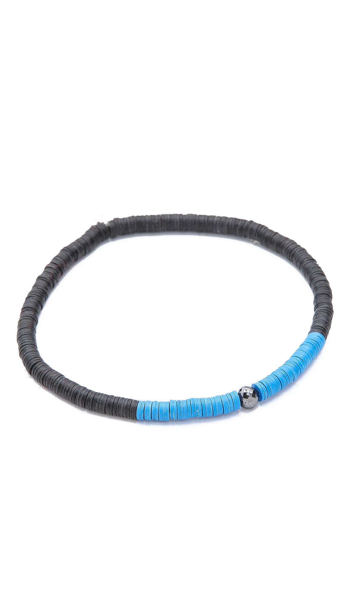 Yuvi Black Diamond Bracelet With African Vinyl In Blue For