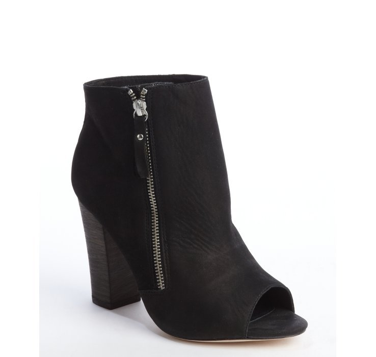 zadig voltaire black leather rapture peep toe ankle