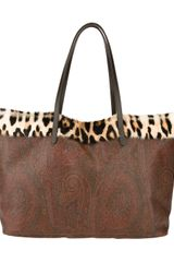 Etro Leopard Trim Paisley Shopper Bag - Lyst