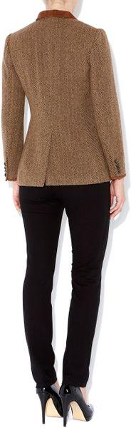 Lauren By Ralph Lauren Tweed Hacking Jacket with Suede Tipped Collar