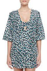 Milly Capella Animal print Deep V-neck Tunic Coverup - Lyst