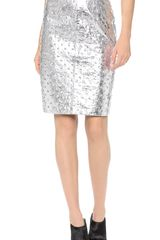Milly Edith Leather Pencil Skirt - Lyst
