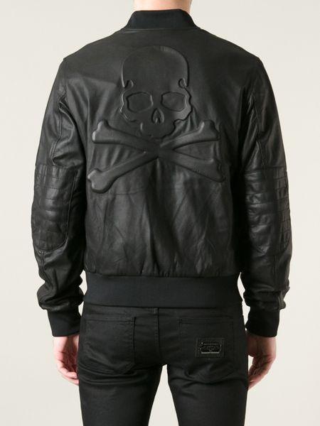 philipp plein skull embossed leather bomber jacket in black for men lyst. Black Bedroom Furniture Sets. Home Design Ideas