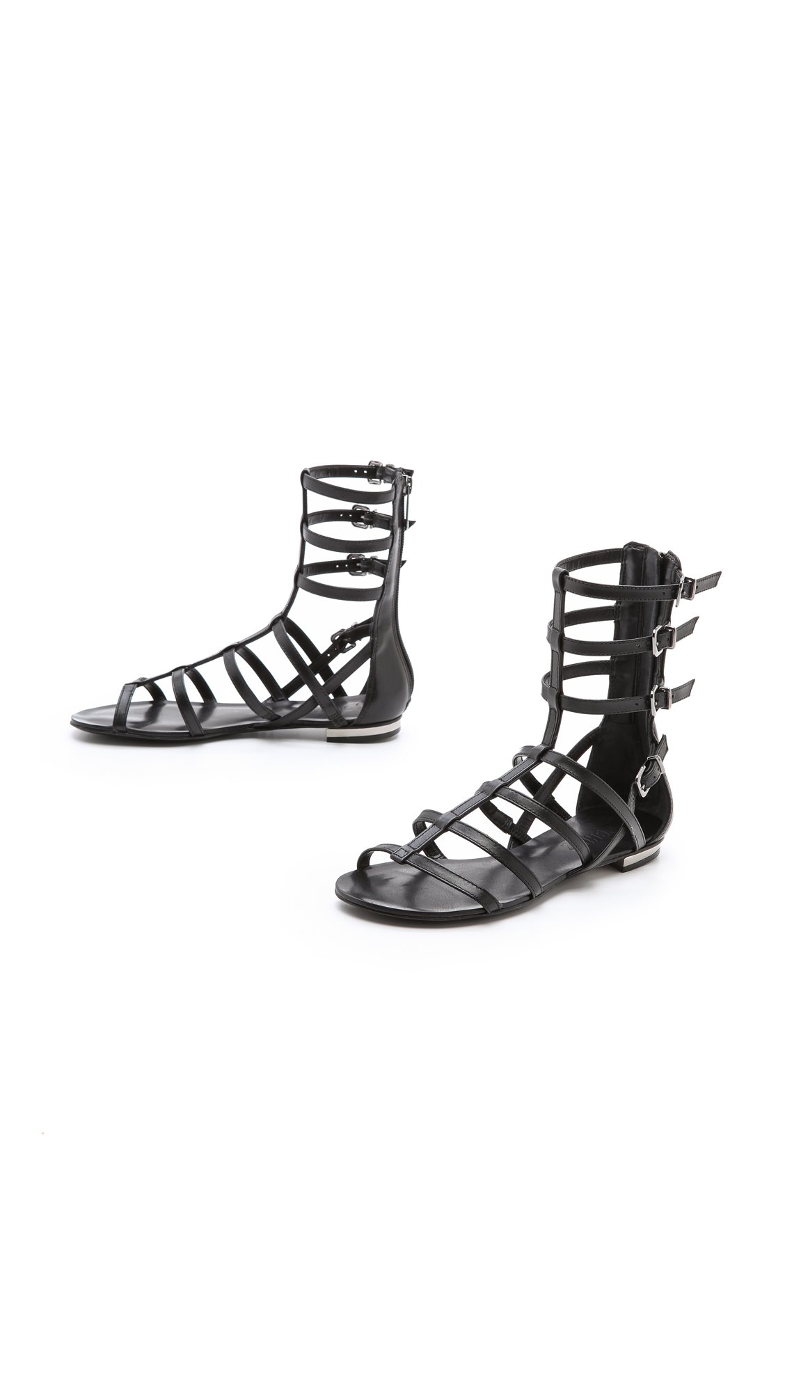 Schutz Fanny Flat Gladiator Sandals In Black Lyst