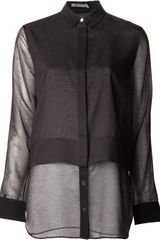 T By Alexander Wang Button Down Chiffon Shirt - Lyst