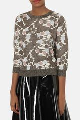 Topshop Chateau Bronze Metallic Print Sweater - Lyst