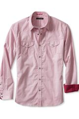 Banana Republic Slim Fit Micro Print Western Shirt Spark Red - Lyst