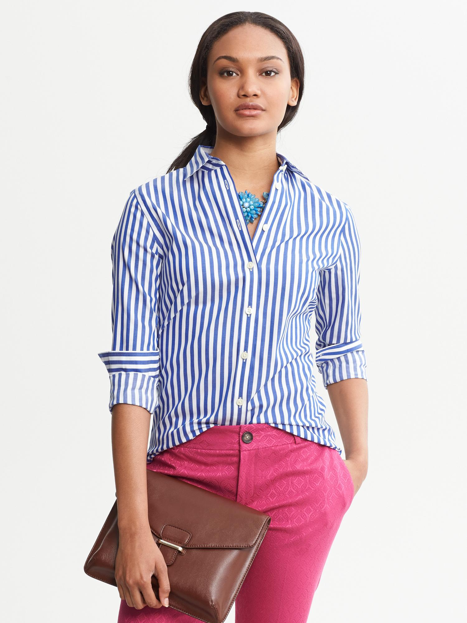 c823198b Banana Republic Fitted Non Iron Blue Striped Shirt Tanzanite Gem in ...
