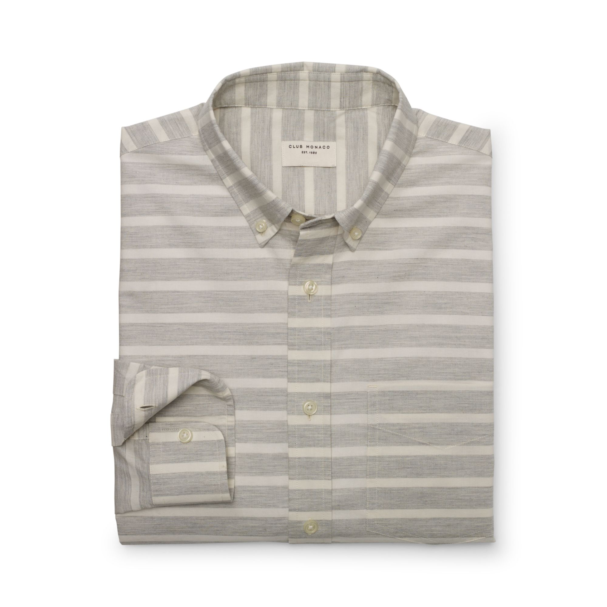 Club monaco slimfit striped shirt in gray for men grey for Horizontal striped dress shirts men