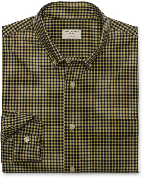 Club monaco slimfit gingham shirt in blue for men yellow for Mens yellow gingham shirt