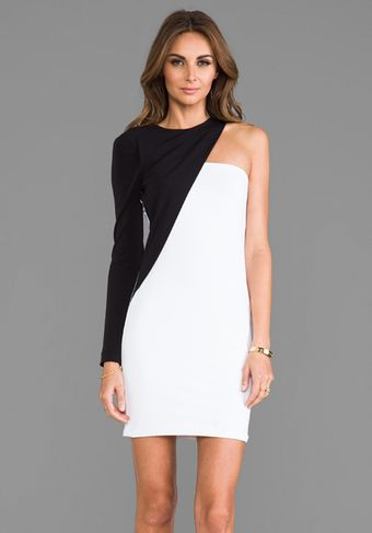 Cut25 One Shoulder Colorblocked Dress in White - Lyst