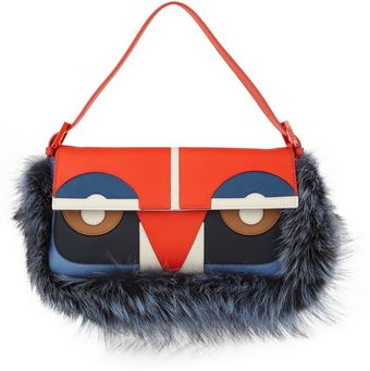Fendi Owl Baguette Leather and Fox Shoulder Bag - Lyst