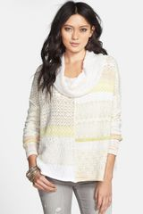 Free People Cowl Neck Patchwork Sweater - Lyst
