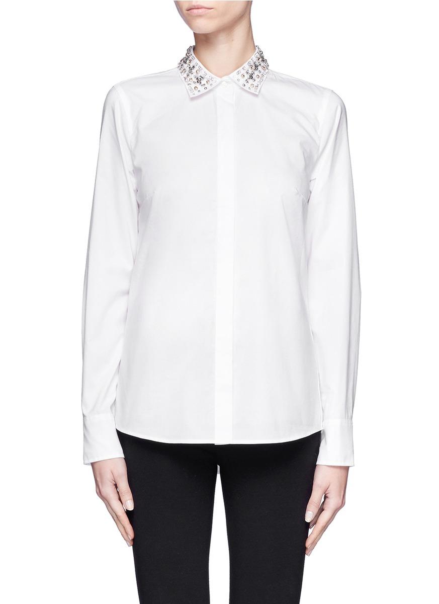 Lyst J Crew Jewelled Collar Boy Blouse In White