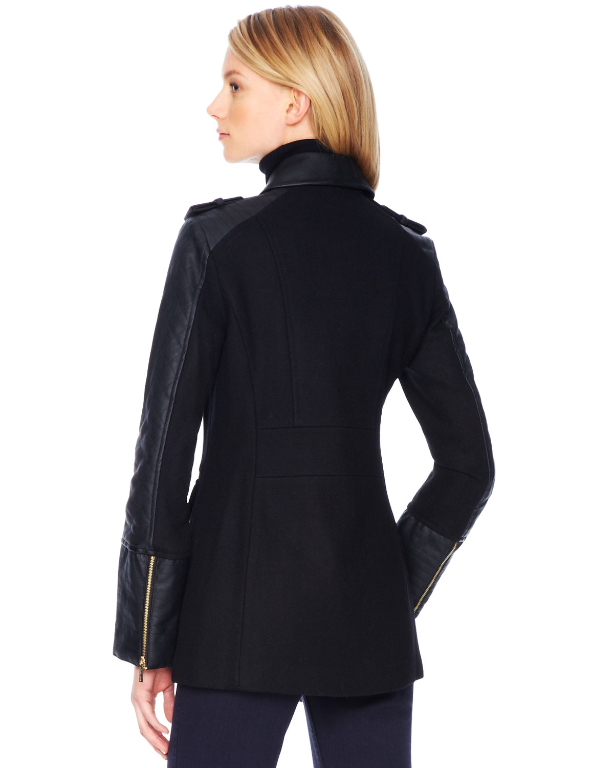 Michael kors Michael Faux Leather Sleeve Wool Coat in Black | Lyst