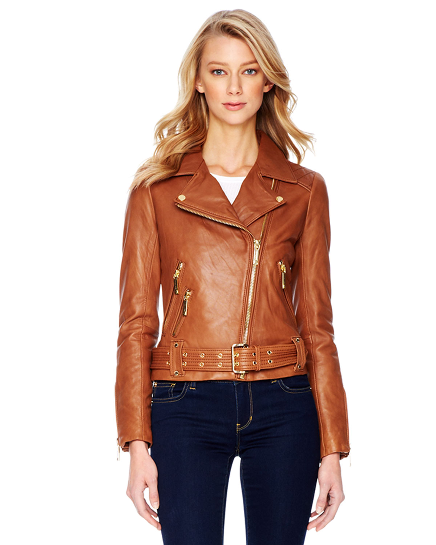 e5994d914 Lyst - Michael Kors Michael Belted Leather Moto Jacket in Orange