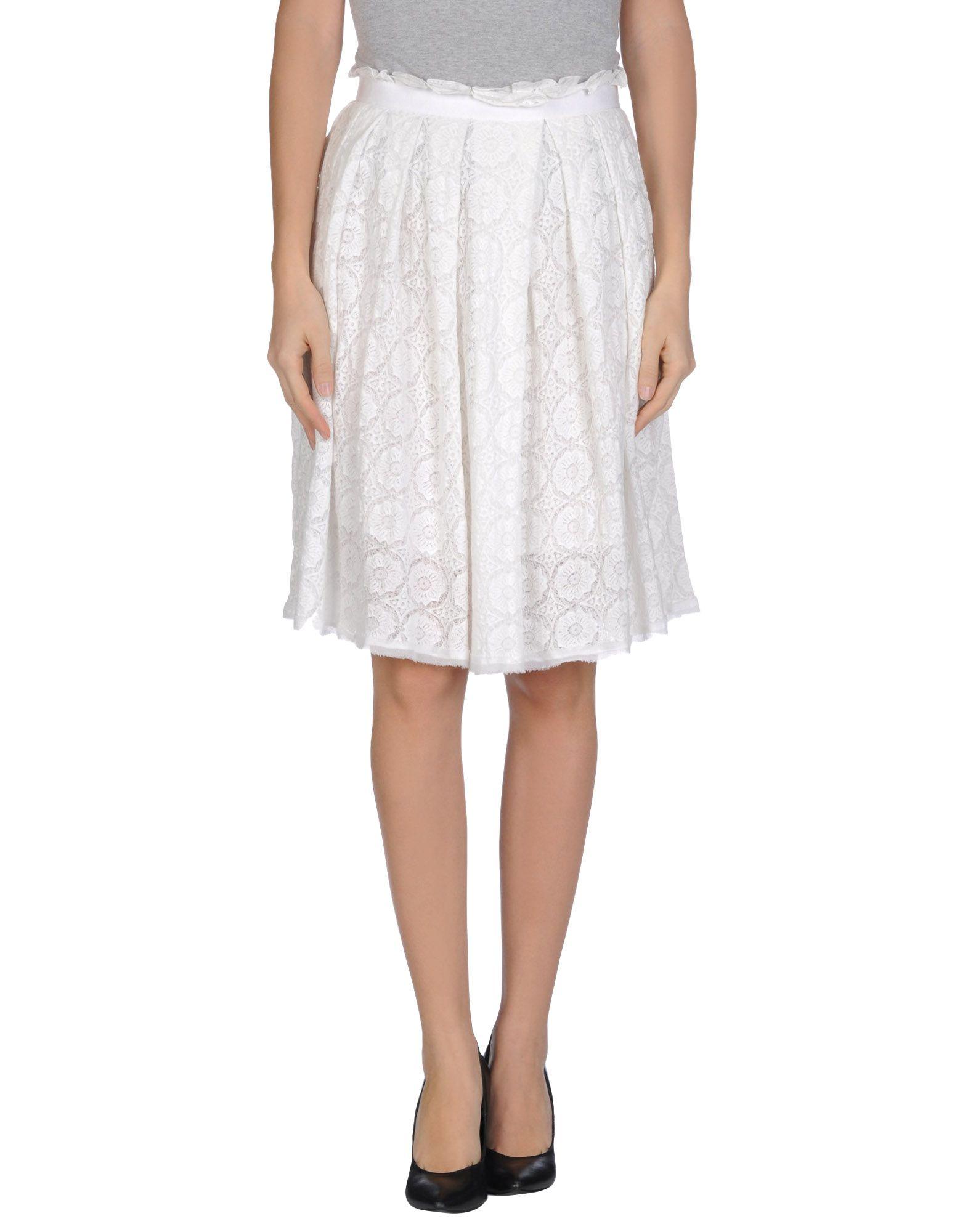 purotatto knee length skirt in white lyst
