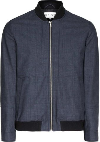 Reiss Gather Check Bomber Jacket - Lyst