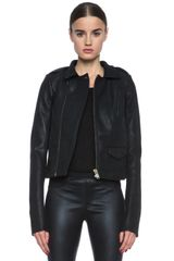 Rick Owens Short Stooges Leather Jacket - Lyst