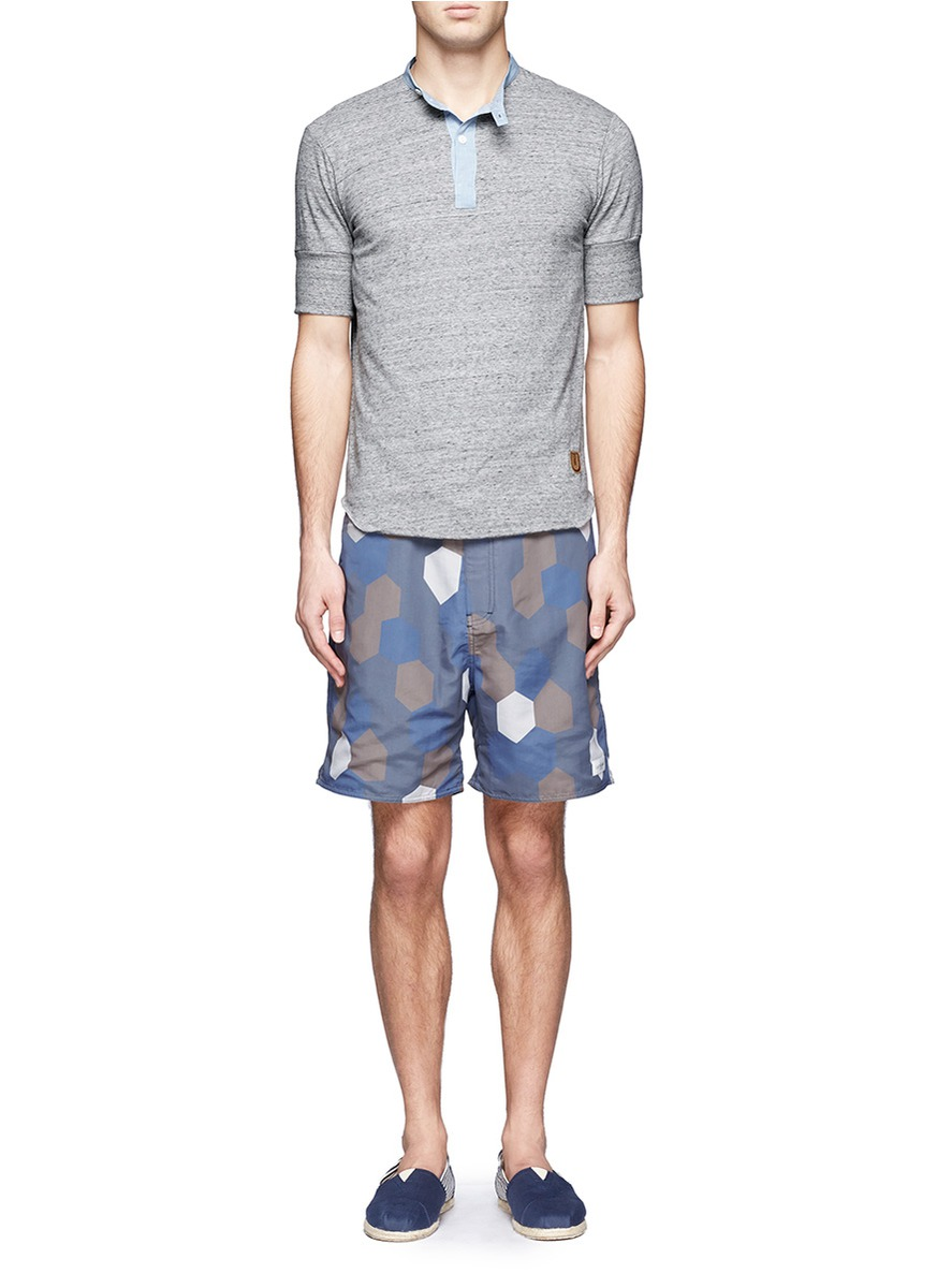 2cf98b4283 Saturdays Nyc Tiefront Hexagon Print Swim Shorts in Blue for Men - Lyst